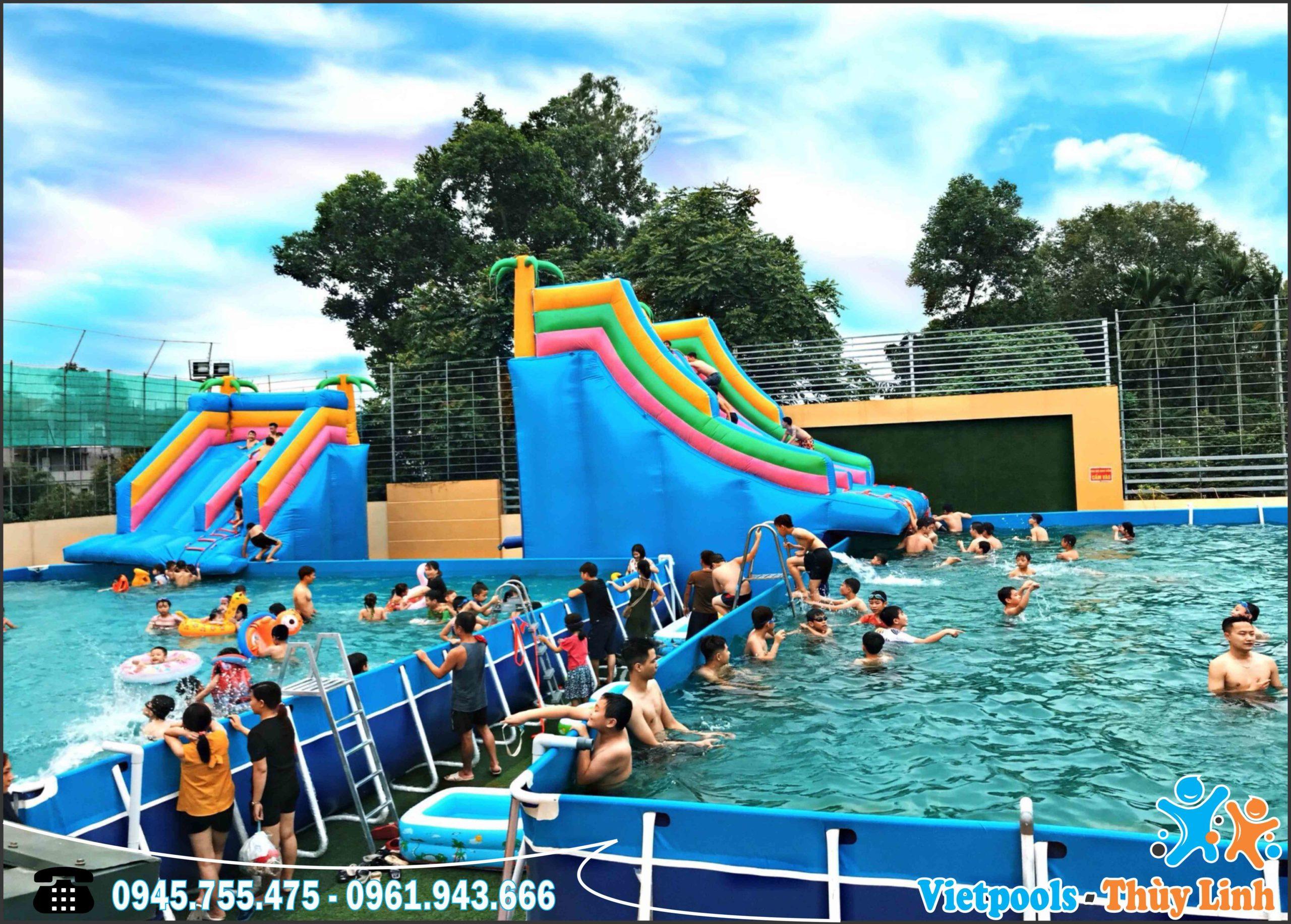 Phổ cập dạy bơi bằng bể bơi khung kim loại lắp ghép Vietpools