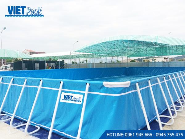 Bể bơi di động khung kim loại lắp ghép thông minh 9.6m x 24.6m