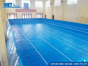 Bể bơi di động khung kim loại lắp ghép thông minh 11.1m x 27.6m