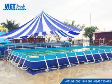 Bể bơi khung kim loại di động <br> 8,1m x 18,6m