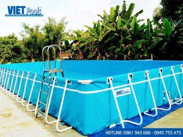 Bể bơi di động khung kim loại lắp ghép thông minh 9.6m x 20.1m