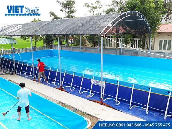 Bể bơi lắp ghép khung kim loại lắp ghép thông minh 6.6m x 18.6m