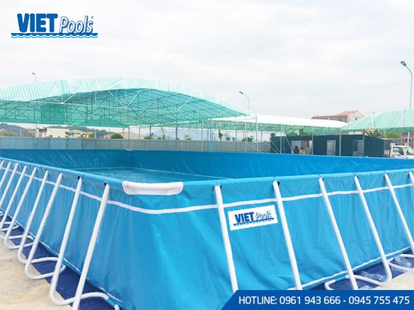 Bể bơi di động khung kim loại lắp ghép thông minh 6.6m x 15.6m