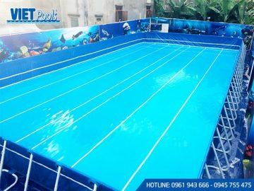 Bể bơi di động khung kim loại lắp ghép thông minh 5.1m x 9.6m