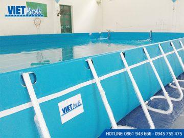 Bể bơi di động khung kim loại lắp ghép thông minh 2.1m x 2.1m