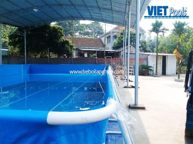 Bể bơi di động VIETPOOLS 9,6m x 20,1m x 1,32m tại Thái Nguyên 1