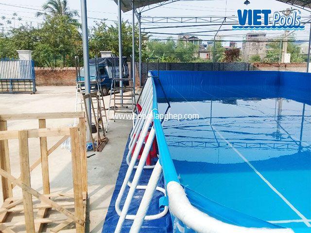 Bể bơi di động VIETPOOLS 9,6m x 20,1m x 1,32m tại Thái Nguyên 2