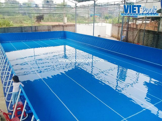 Bể bơi di động VIETPOOLS 9,6m x 20,1m x 1,32m tại Thái Nguyên 3
