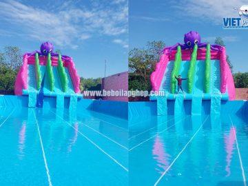 Bể bơi di động kết hợp nhà hơi trượt nước tại Bình Thuận