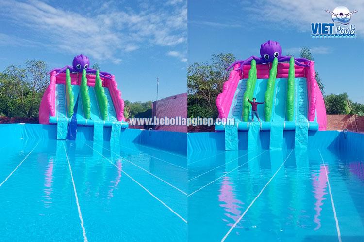 Bể Bơi Di Động Kết Hợp Nhà Hơi Trượt Nước Tại Bình Thuận - 2020 16