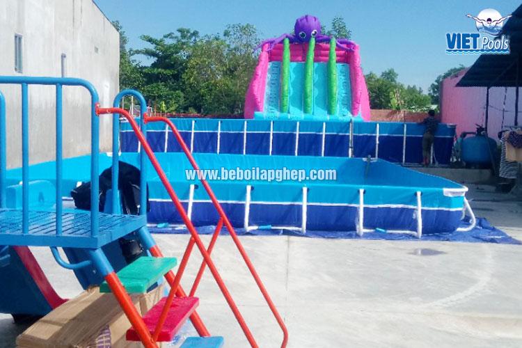 Bể Bơi Di Động Kết Hợp Nhà Hơi Trượt Nước Tại Bình Thuận - 2020 17