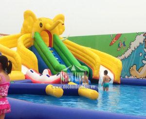 nhà hơi trượt bể bơi